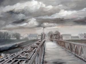 Ponte (olio su tela di Claudia Balanzoni)